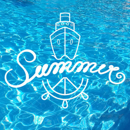 Written inscription with a brush. Lettering summer. Hand drawn elements for Summer calligraphic design. Handwritten caligraphy word. Realistic water background. Illustration