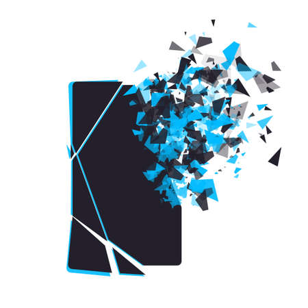 repaired: Cracked phone screen shatters into pieces. Broken smartphone split by the explosion. Modern gadget needs to be repaired. Display of the phone shattered.