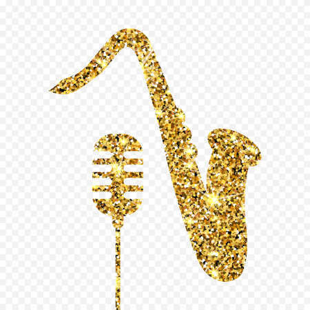 Gold glitter vector Old microphone and saxophone. Golden sparcle retro microphone and saxophone on transparent background. Amber particles gold confetti musical instruments.