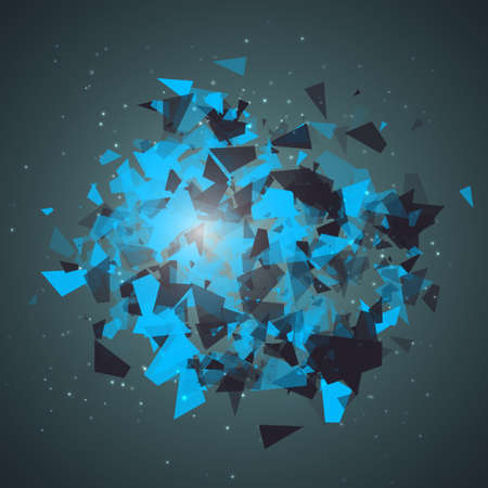 Abstract triangles particles with transparent shadows. Explosion cloud of black and blue pieces on dark space background. Advertisement panel, infographic background, item showcase concept.