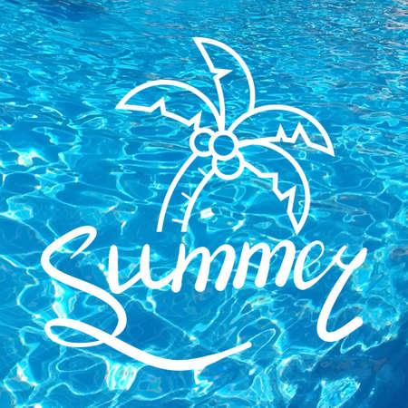筆で書かれた碑文。夏をレタリングします。手描き夏書道デザインの要素です。手書き書道単語。リアルな水の背景。