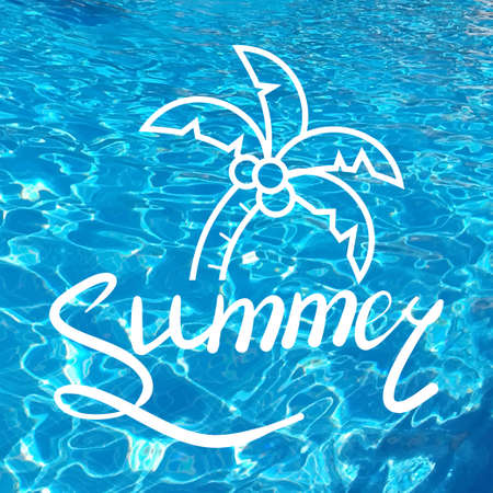 caligraphy: Written inscription with a brush. Lettering summer. Hand drawn elements for Summer calligraphic design. Handwritten caligraphy word. Realistic water background. Stock Photo