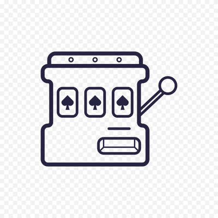 Slot mashine simple line icon. One arm bandit thin linear signs. Outline casino game simple concept for websites, infographic, mobile applications.