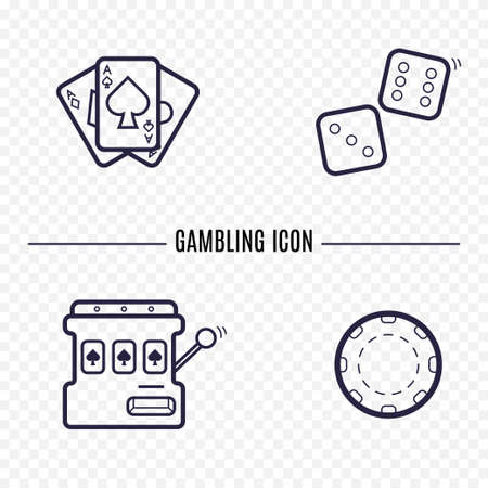 wheel of fortune: Gambling simple line icon. Card, dice, casino chip, slot mashine thin linear signs. Outline casino game simple concept for websites, infographic, mobile applications.
