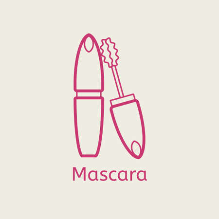 Vector cosmetic mascara line icon. Mascara brush thin linear signs for makeup and visage. Cosmetic for eyelesh. Illustration