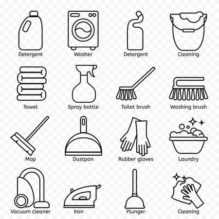Limpieza, iconos de líneas de lavado. Lavadora, esponja, trapeador, plancha, aspiradora, pala y otros elementos de clinca. Pida en la casa carteles lineales delgados para el servicio de limpieza.