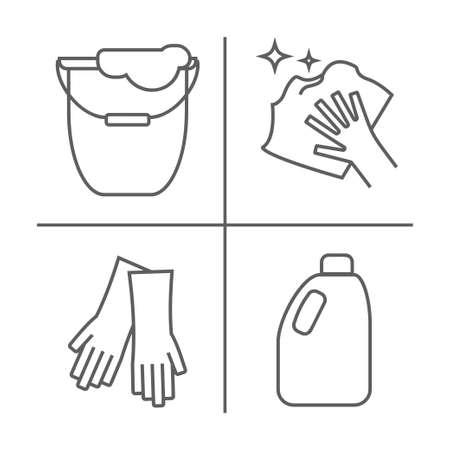 Nettoyage des icônes de ligne de plancher. Un seau pour le lavage du sol, une toison de sol, des gants et une autre icône de nettoyage. Commandez dans la maison des panneaux linéaires minces pour le service de nettoyage.