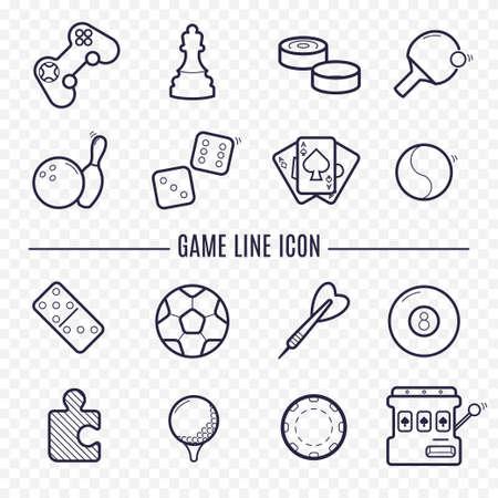 게임, 비디오 게임 선형 아이콘. 탁구, 체스, 골프, 당구, 다트, 도박, 볼링 및 여가 활동. 논리, 도박, 스포츠 얇은 라인 아이콘.
