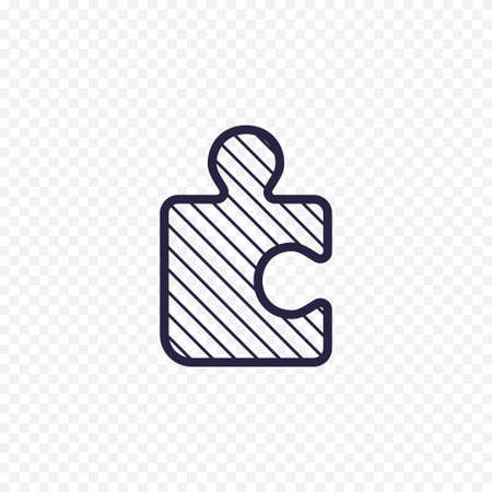 conundrum: Puzzle game line icon. Jigsaw piece thin linear signs. Outline solution simple concept for websites, infographic, mobile app. Illustration