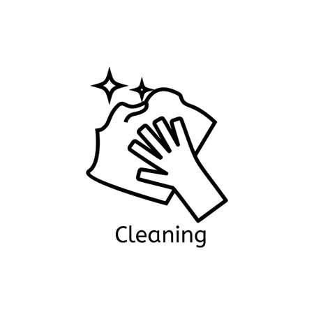 Main tenant l'icône de la ligne simple. Nettoyage des signes linéaires minces. Nettoyer et briller concept simple pour les sites Web, infographie, application mobile Vecteurs