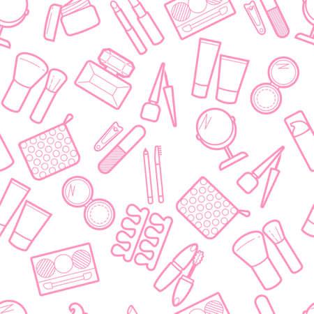 Kosmetisches simless Muster. Mascara, Lippenstift, Puder, Lidschatten, Parfüm, Creme, Foundation, Eyeliner, Spiegel, Haarkamm und andere Make-up-Hintergründe. Make-up-Visage-Hintergrund. Standard-Bild - 83526759