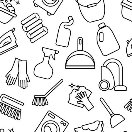 toilet: Cleaning, wash line icons. Washing machine, sponge, mop, iron, vacuum cleaner, shovel clining background. Order in the house thin linear backdrop for cleaning service.