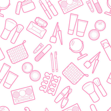 Cosmetic seamless pattern. Mascara, lipstick, powder, eye shadow, perfume, cream, foundation, eyeliner, mirror, hair comb and other visage make-up backgrounds, backdrop.