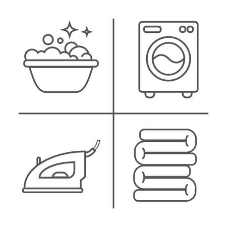 Washing, ironing, clean laundry line icons. Washing machine, iron, handwash and other cleaning icon. Order in the house linear signs for cleaning service. Illustration