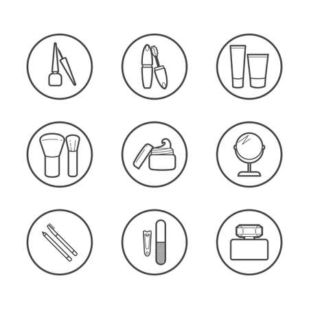 mirror: Vector cosmetic icons. Mascara, brush, perfume, cream and other make-up items. Makeup thin linear signs for manicure, pedicure and Visage. Illustration