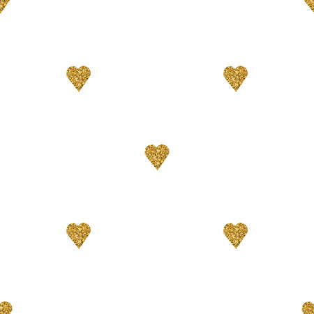 shiny hearts: Gold heart seamless pattern on white backgroung