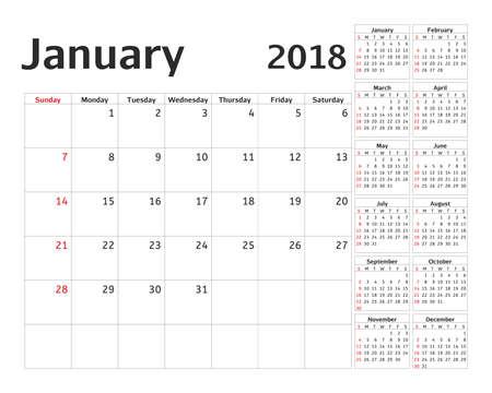 simple calendar planner for 2018 year calendar planning week vector design january template
