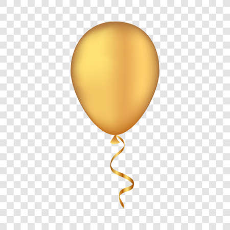 Vector gold balloon on a transparent background. 3d realistic happy holidays flying air helium balloon. Illustration