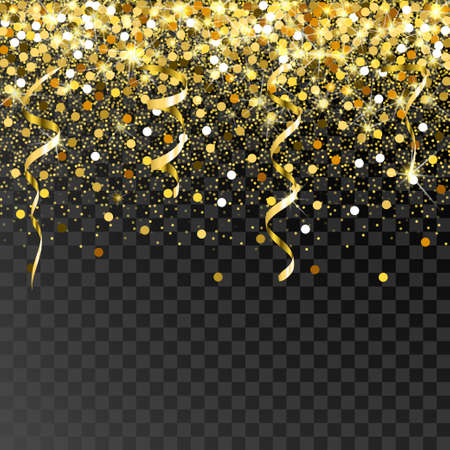 Falling golden particles on a black background. Scattered golden confetti. Rich luxury fashion backdrop. Bright shining gold. Gold round dots. Stock Illustratie