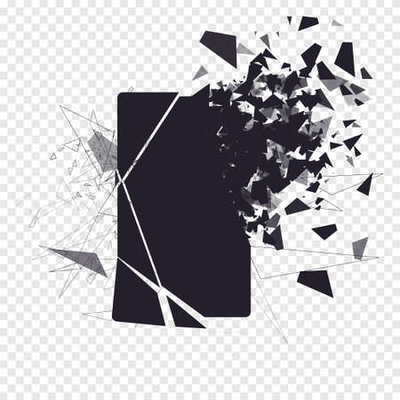 Cracked phone screen shatters into pieces. Broken smartphone split by the explosion. Display of the phone shattered. Modern gadget needs to be repaired. 向量圖像