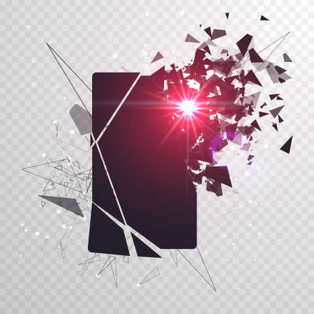 Cracked phone screen shatters into pieces. Broken smartphone split by the explosion. Display of the phone shattered. Modern gadget needs to be repaired. Illustration