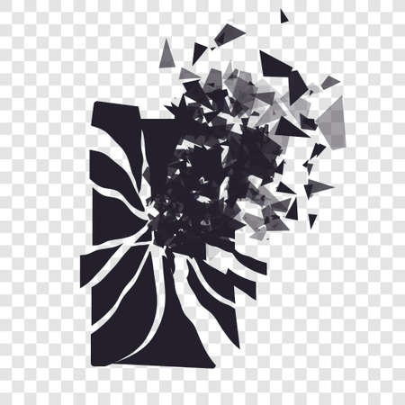 brocken: Cracked phone screen shatters into pieces. Broken smartphone split by the explosion. Display of the phone shattered. Modern gadget needs to be repaired. Illustration