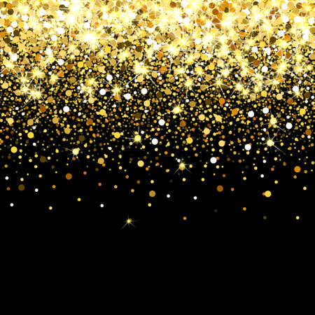 Falling golden particles on a black background. Scattered golden confetti. Rich luxury fashion backdrop. Bright shining gold. Gold round dots. Banco de Imagens - 83948668
