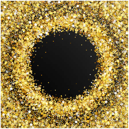 Gold glitter frame with empty space for text. Scattered golden confetti border on transparent background. Bright shining gold. Rich luxury fashion glitter backdrop.
