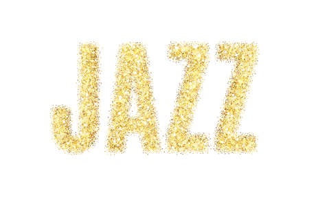 Gold glitter vector Inscription jazz. Golden sparcle word jazz on white background. Amber particles.