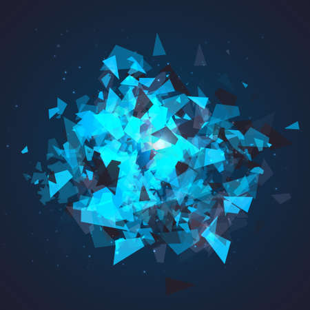 flaring: Abstract triangles particles with transparent shadows. Advertisement panel, infographic background, item showcase concept. Explosion cloud of black and blue pieces on dark space background.