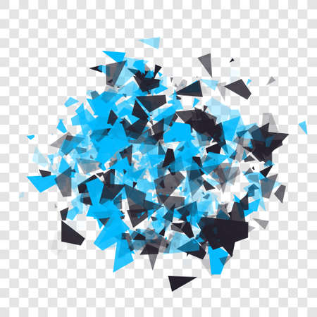 Abstract triangles particles with transparent shadows. Advertisement panel, infographic background, item showcase concept. Explosion cloud of black and blue pieces on transparent background. Ilustrace