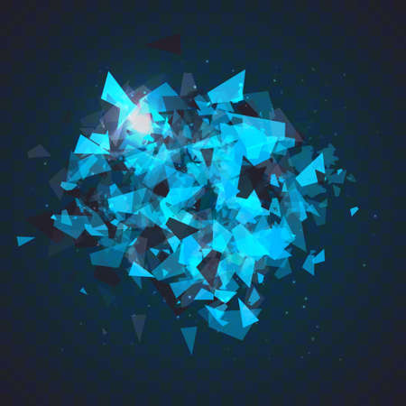 Abstract triangles particles with transparent shadows. Advertisement panel, infographic background, item showcase concept. Explosion cloud of black and blue pieces on dark space background.