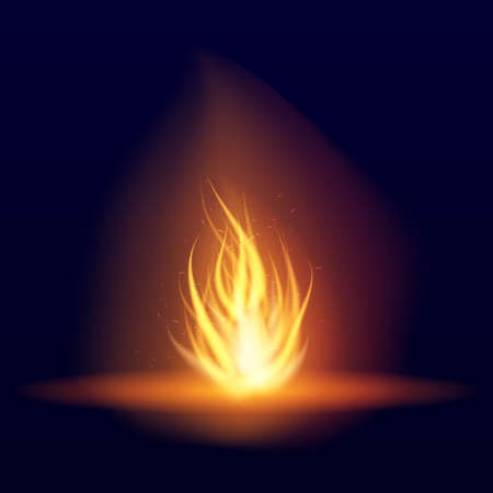 Vector burning bonfire. Hot flickering flame with sparks. Tongues of flame. Flicker of a torch. Bright burning effect of a candle. 일러스트