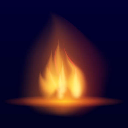 Vector burning bonfire. Hot flickering flame with sparks. Tongues of flame. Flicker of a torch. Bright burning effect of a candle. Иллюстрация