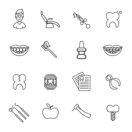 mirror: Set of dental in modern thin line style. High quality black outline teeth symbols for web site design and mobile apps. Simple dentistry pictograms on a white background.