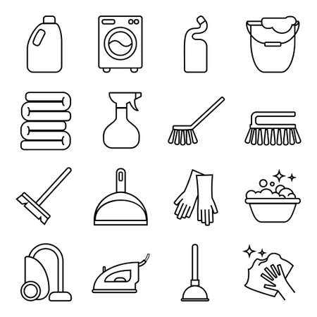 Vector set of isolated cleaning icon. White background.