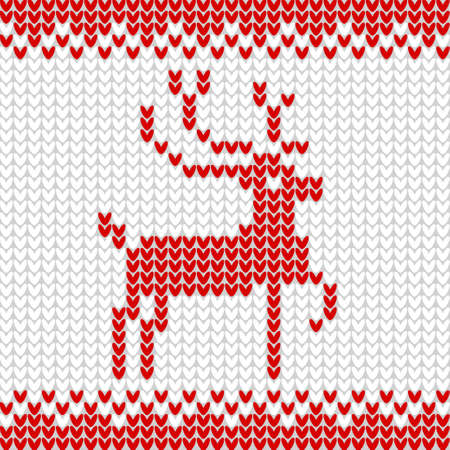Knitted realistic seamless pattern of white color.