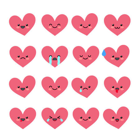 Cute heart emoticons set. Various emotions of the character. Collections Valentine s avatar icons. Vector illustration.