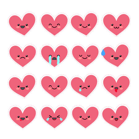 Cute heart emoticons set. Various emotions of the character. Collections Valentine s avatar icons. Vector illustration. Banco de Imagens - 84014267
