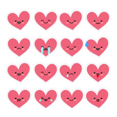 Schattig hart emoticons instellen. Verschillende emoties van het personage. Collecties Valentine's avatar pictogrammen. Vector illustratie.