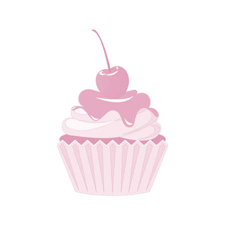 Vector cupcakes and muffins icon. Pink desserts with cream, chocolate, cherries and strawberries. Cute cupcake sign for flyers, postcards, stickers, prints, posters, decorations. Illustration