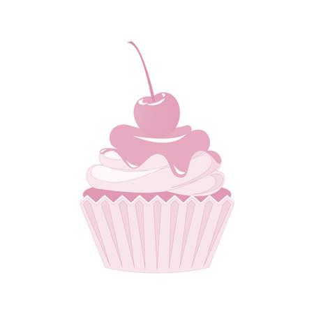 Vector cupcakes and muffins icon. Postres rosados ??con crema, chocolate, cerezas y fresas. Muestra linda de la magdalena para los aviadores, las postales, las etiquetas engomadas, las impresiones, los carteles, las decoraciones. Foto de archivo - 84014343