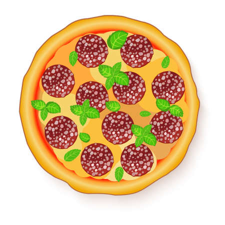 illustration of Tasty, flavorful pizza isolated on white background. Pizza Pepperoni.