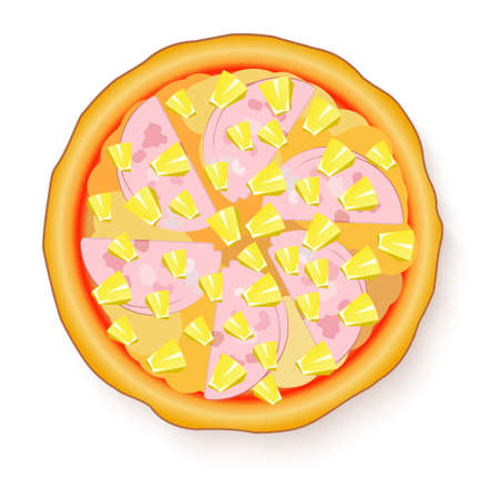 illustration of Tasty, flavorful pizza isolated on white background. Hawaiian Pizza Stock Photo