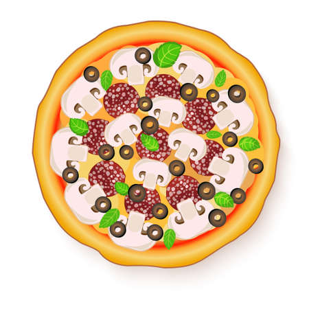 champignon: illustration of Tasty, flavorful pizza isolated on white background.