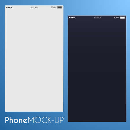 mobile app: Light and dark screens of smartphones for user interface design. Isolated on a blue background. illustration. Stock Photo