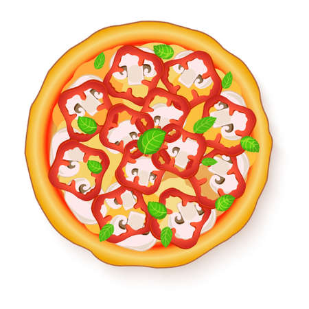 flavorful: Vector illustration of Tasty, flavorful pizza isolated on white background.