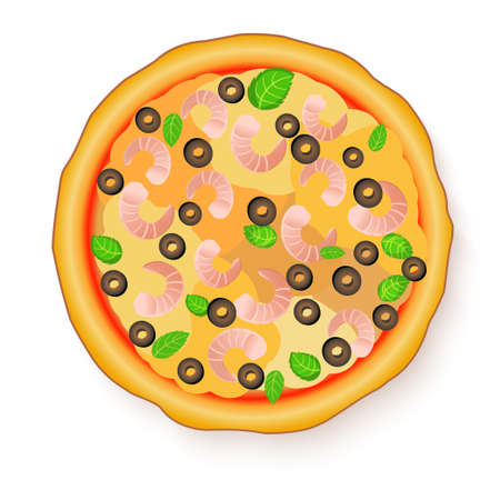 Vector illustration of Tasty, flavorful pizza isolated on white background. Seafood italian pizza.