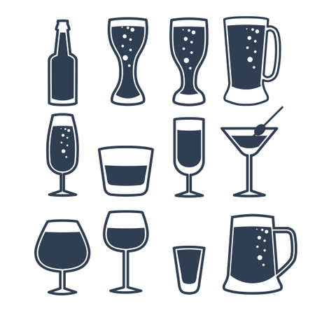 illustration of beverage line icons.