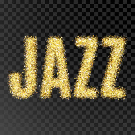 expensive: Gold glitter Inscription jazz. Golden sparcle word jazz on black transparent background. Amber particles gold confetti.